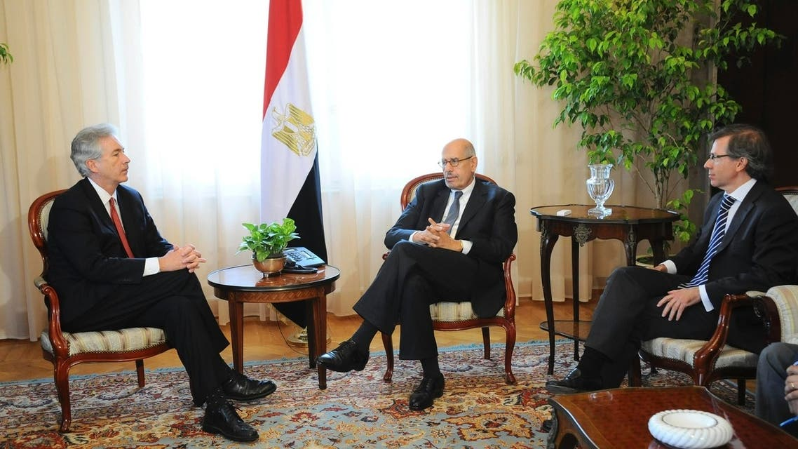 Egypt's interim Vice President Mohamed ElBaradei (C) speaks with U.S. Deputy Secretary of State William Burns (L) during their meeting with high delegations in Cairo in this handout picture dated August 3, 2013. reuters