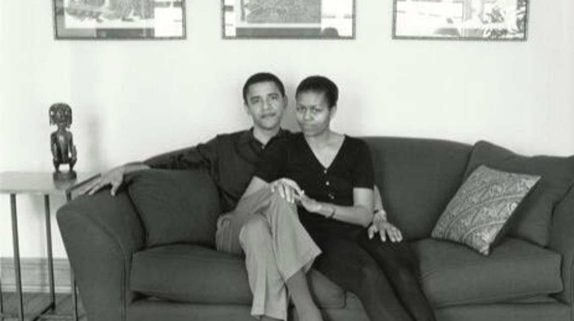 The message was accompanied by an undated black and white photo of the Obamas as a young couple relaxing on a sofa. (Courtesy: Michelle Obama's Twitter account)
