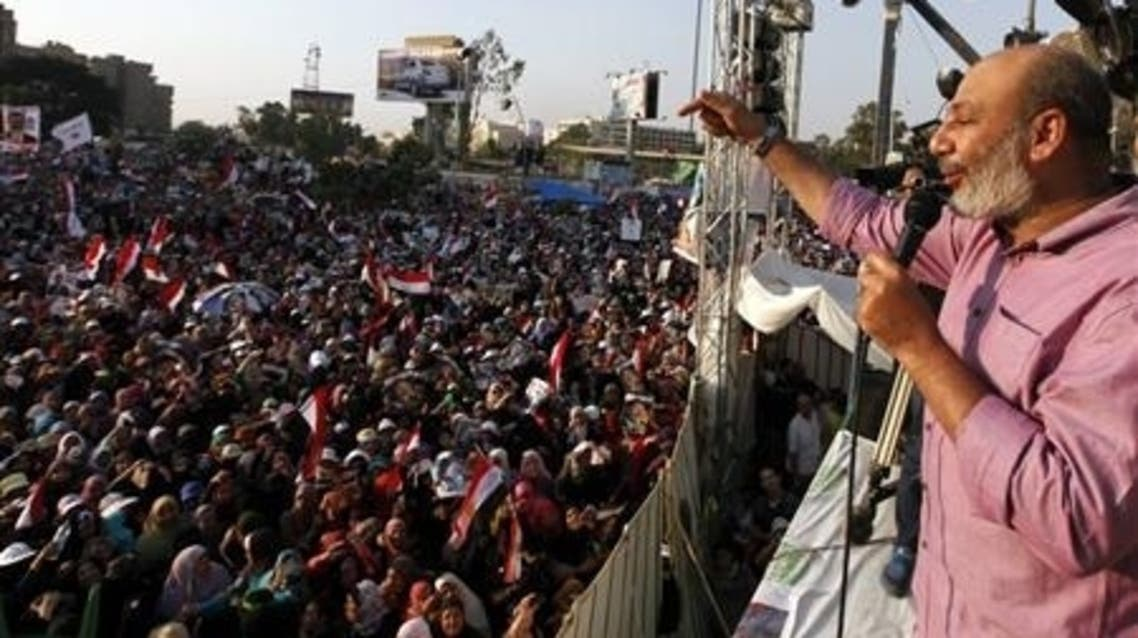 Islamic propagandist Safwat Hegazy delivers a speech to supporters of deposed Egyptian President Mohamed Mursi during a protest in Cairo July 7, 2013. (Reuters)