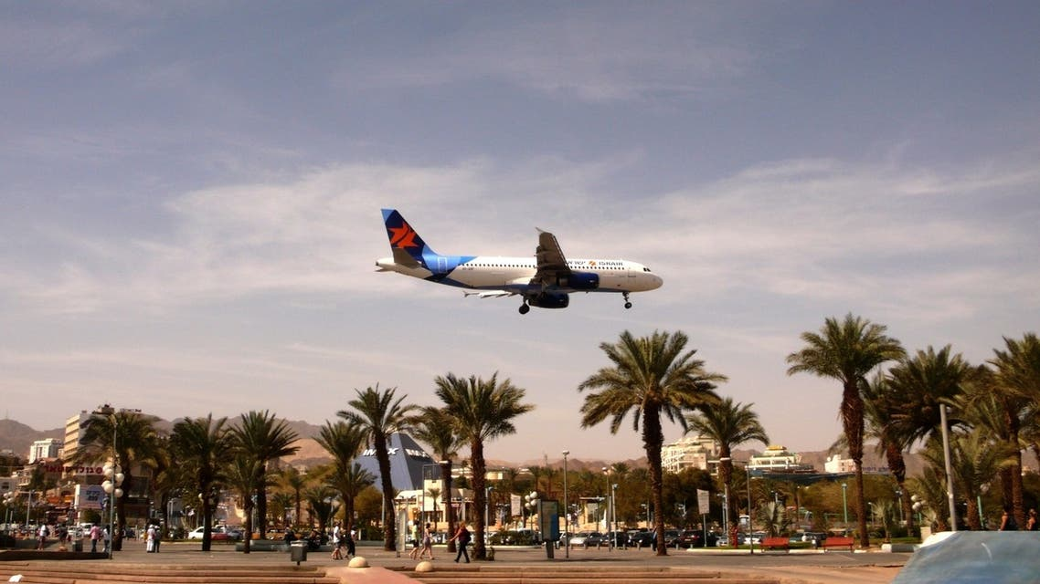"""A picture taken on February 24, 2011 shows a """"Israir"""" company plane preparing to land at Eilat's airport in the center of the Israeli Red Sea resort. (AFP)"""