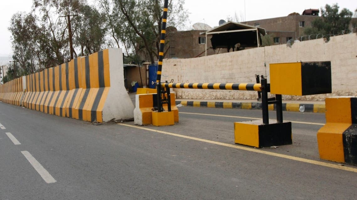 Concrete barriers are seen at the entrance to the Sheraton Hotel where U.S. diplomats and members of the embassy are residing in Sanaa August 7, 2013. (Reuters)