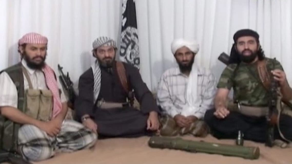 An al-Qaeda video showing the branch's leader, Nasser al-Wuhayshi, second from right. (Photo courtesy: IntelCenter)