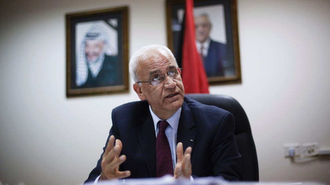 Palestinian chief negotiator Saeb Erekat Aug 11 Reuters