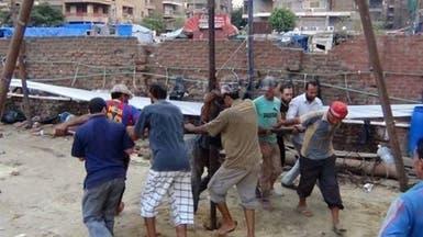 بعد مباراة كرة القدم.. حفر بئر في ميدان رابعة العدوية