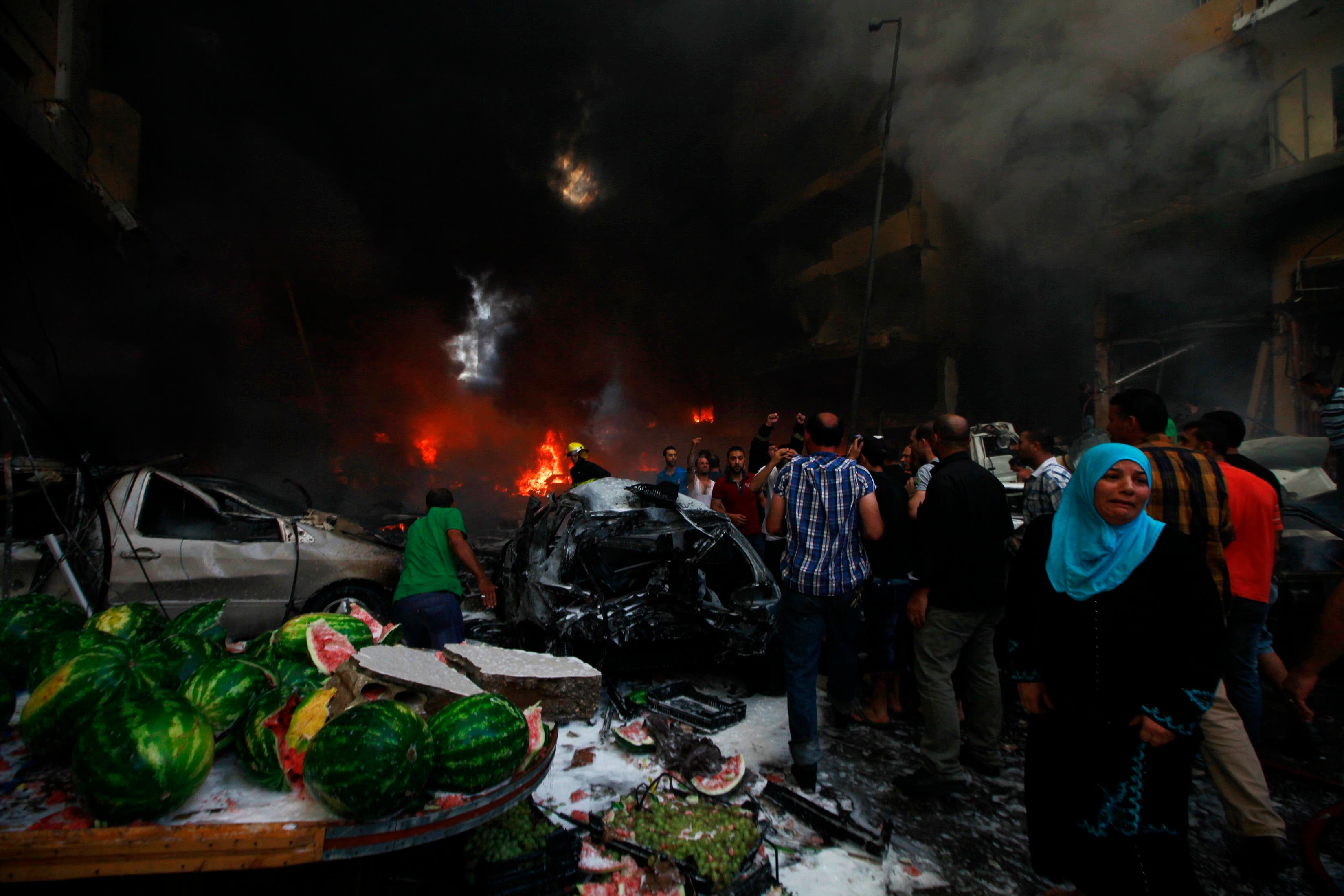 Rescue workers in the southern Beirut district hit by an explosion on Thursday have found nine bodies, a witness at the scene said. (Reuters)