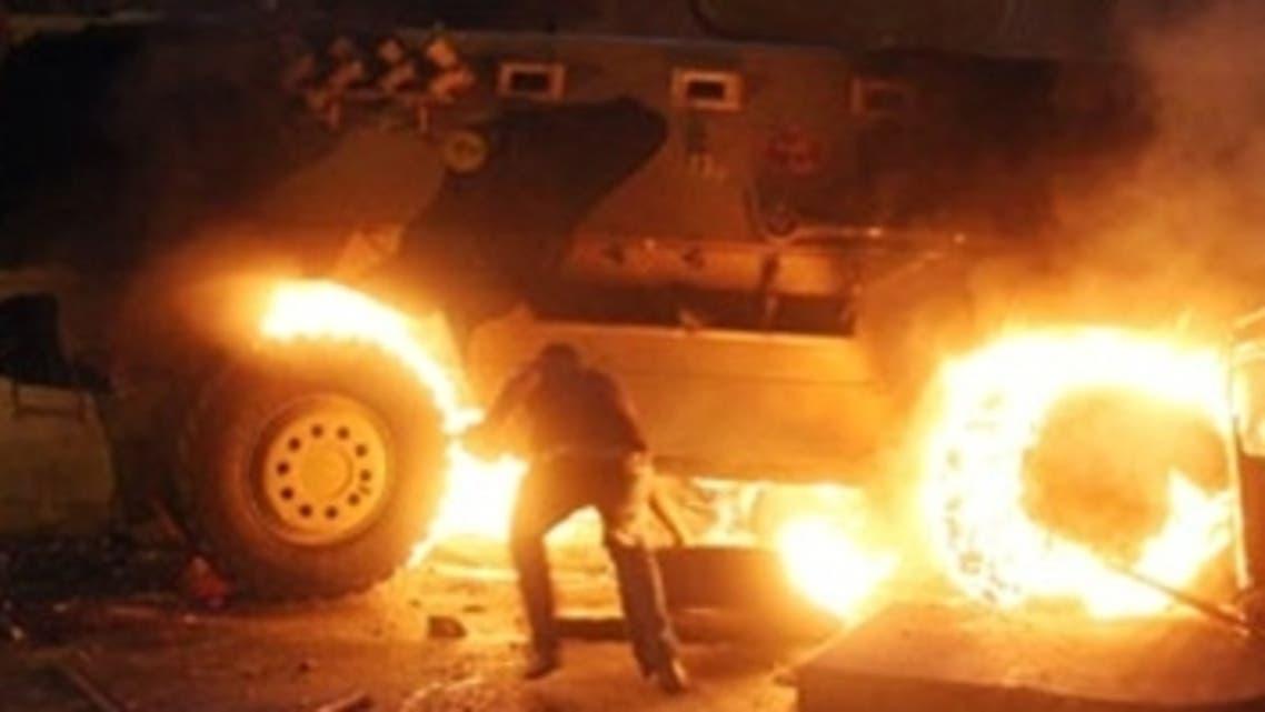 حرق مدرعة للشرطة المصرية