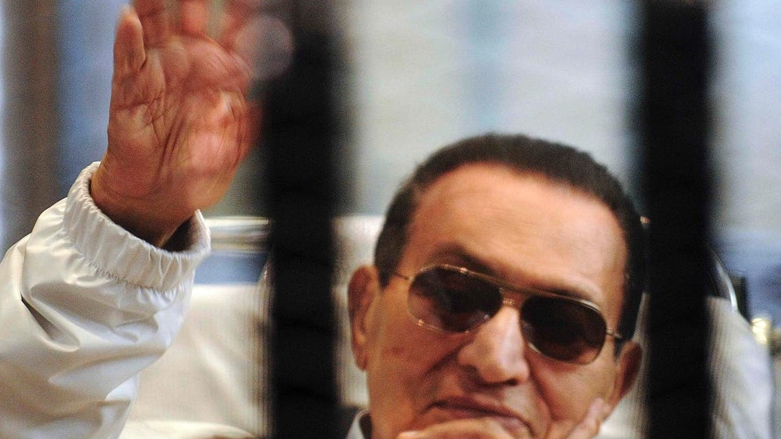 Egypt's ousted President Hosni Mubarak sits inside a dock at the police academy on the outskirts of Cairo, in this file picture taken April 15, 2013. (Reuters)
