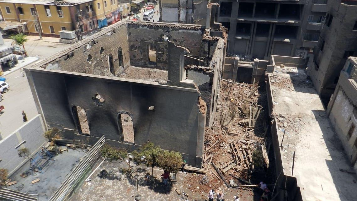 Burnt down Egypt church August 17 (Reuters)