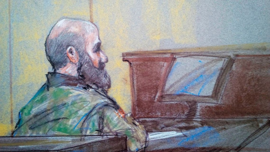 U.S. Army psychiatrist Major Nidal Hasan is pictured in court in Fort Hood, Texas in this August 23, 2013 court sketch.