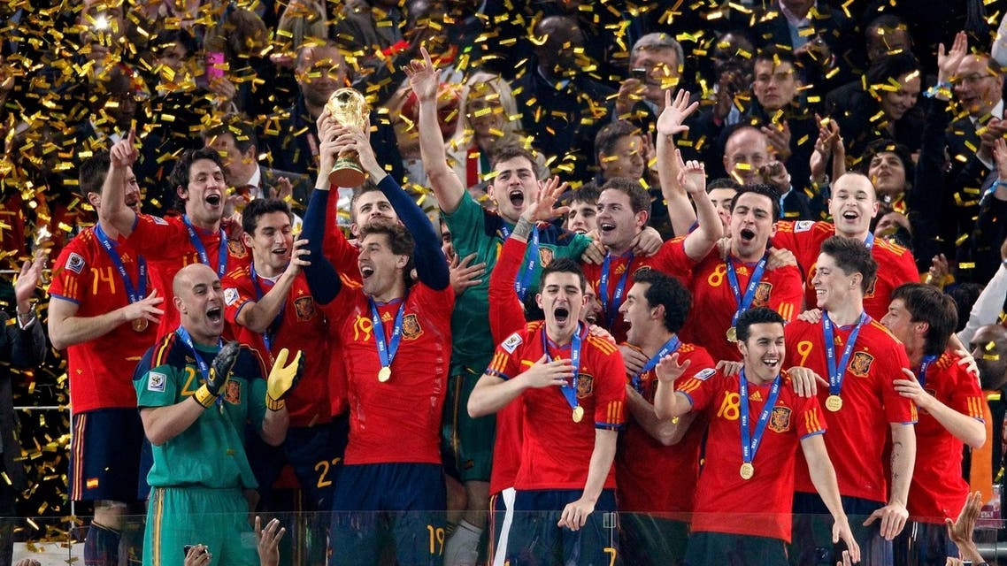 Spain's soccer team celebrates with the World Cup trophy after their final match victory over Netherlands (File Photo: Reuters)
