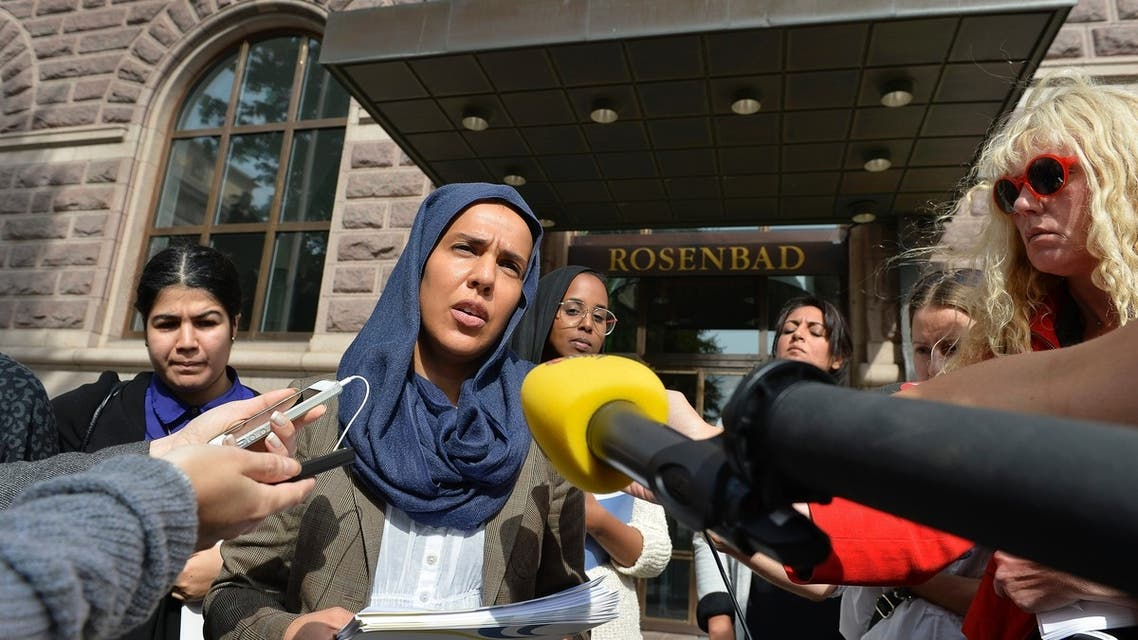 "Fatima Doubakil, one of the initiator's of the ""hijab outcry"" campaign, speaks to the media outside the government building in Stockholm August 20, 2013 (Reuters)"