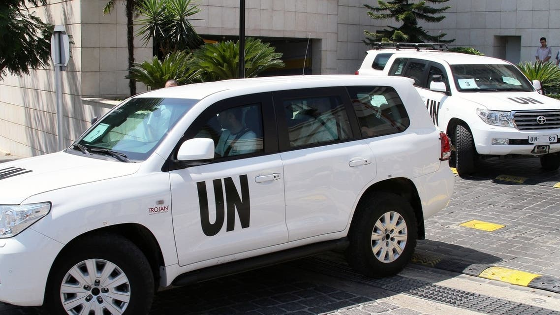 Vehicles of the United Nations (UN) inspectors leave a hotel for another probe of Syria chemical attack on their last day of inspections on August 30, 2013 near Damascus. (AFP)