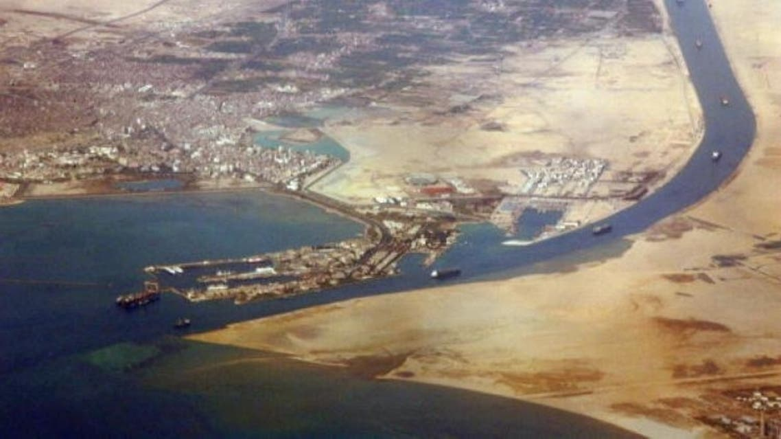 An aerial view taken in December 2007 shows the southern entrance of Egypt's Suez Canal. (Jack Guez/AFP/Getty Images)