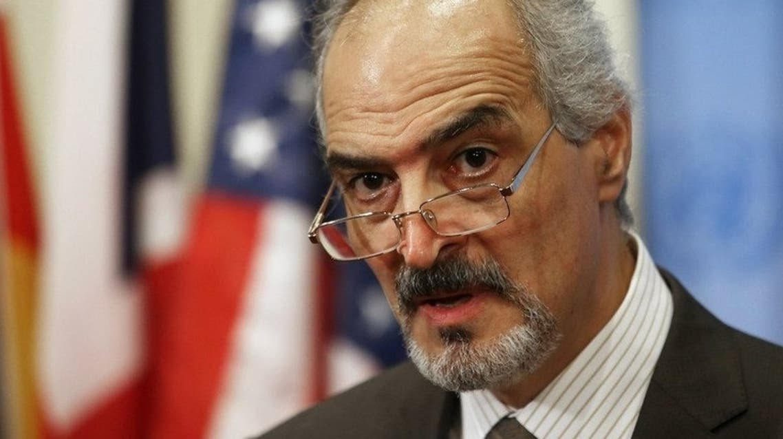 Syrian Ambassador to the United Nations Bashar Jaafari speaks to reporters on August 28, 2013 in New York.