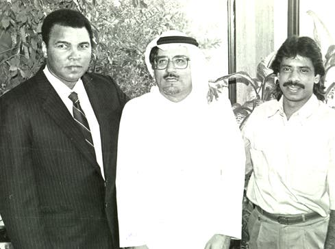 Almaeena has met with other sports personalities such as boxer Muhammad Ali and squash champion Jahangir Khan. (Photo courtesy Khaled Almaeena).