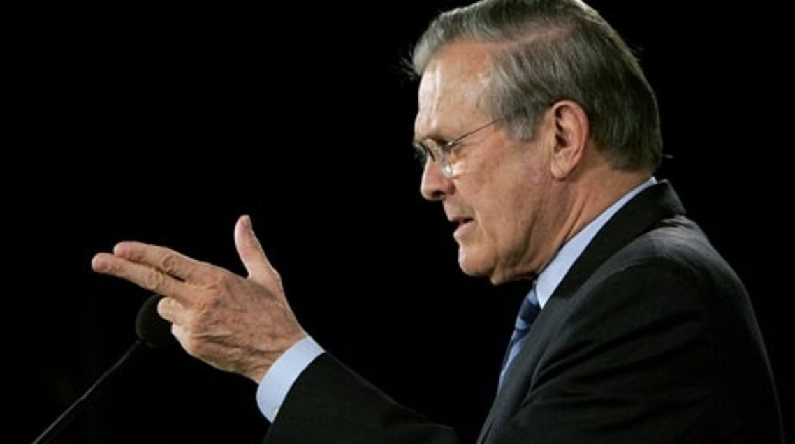 Donald Rumsfeld at a press briefing at the Pentagon on 25 January 2006. (File Photo: AFP)