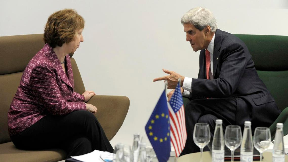 U.S. Secretary of State John Kerry (R) meets with European Union High Representative Catherine Ashton (L) before a meeting of EU ministers of foreign affairs at the National Gallery of Art in Vilnius, September 7, 2013. (Reuters)