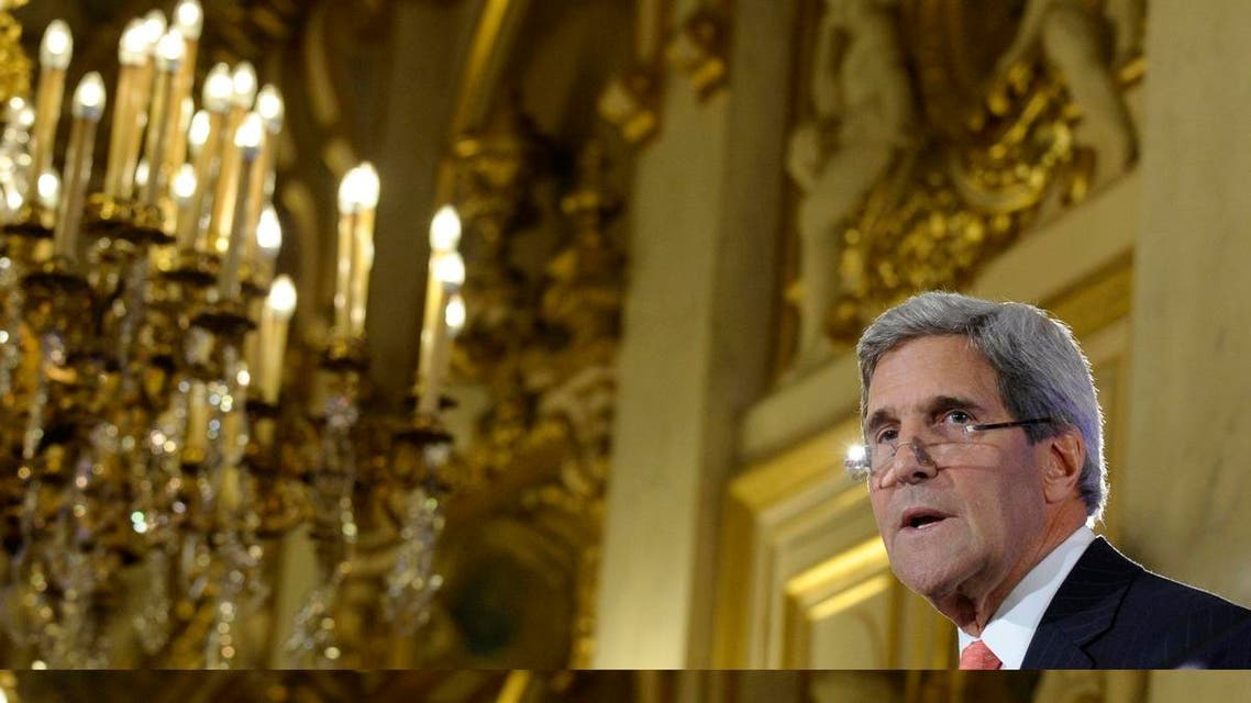 U.S. Secretary of State John Kerry speaks during a news conference with French Foreign Affairs Minister Laurent Fabius (not pictured) at the Ministry of Foreign Affairs in Paris September 7, 2013.