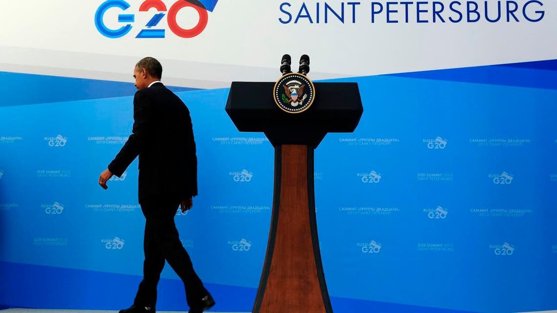 U.S. President Barack Obama departs a news conference at the G20 Summit in St. Petersburg September 6, 2013. (Reuters)