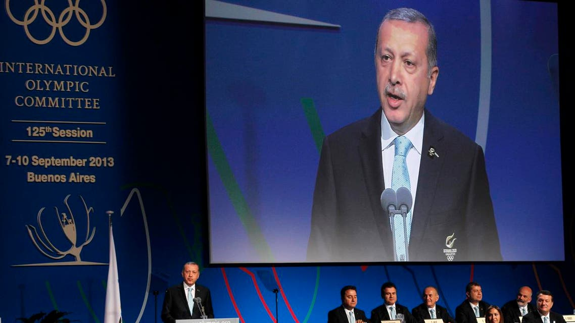 Turkish Prime Minister Tayyip Erdogan speaks to the International Olympic Committee (IOC) during the presentation of Istanbul as candidate to host the 2020 Summer Olympic Games, in Buenos Aires September 7, 2013. reu