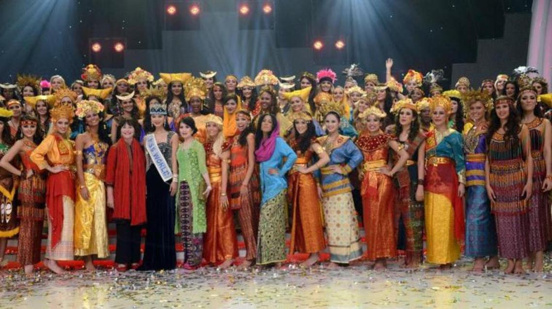 Miss World 2013 contestants pose after their parade during the opening ceremony in Nusa Dua, on the resort island of Bali on September 8, 2013. (AFP)