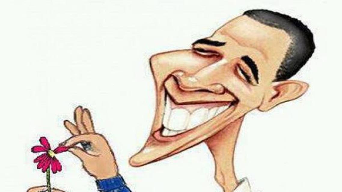 Syrian caricature showing Obama mulling his Syria decision