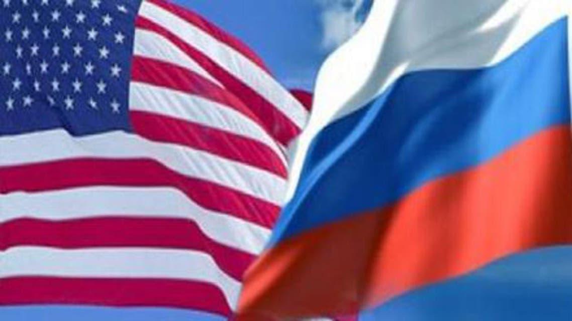 علم روسيا وعلم أمريكا