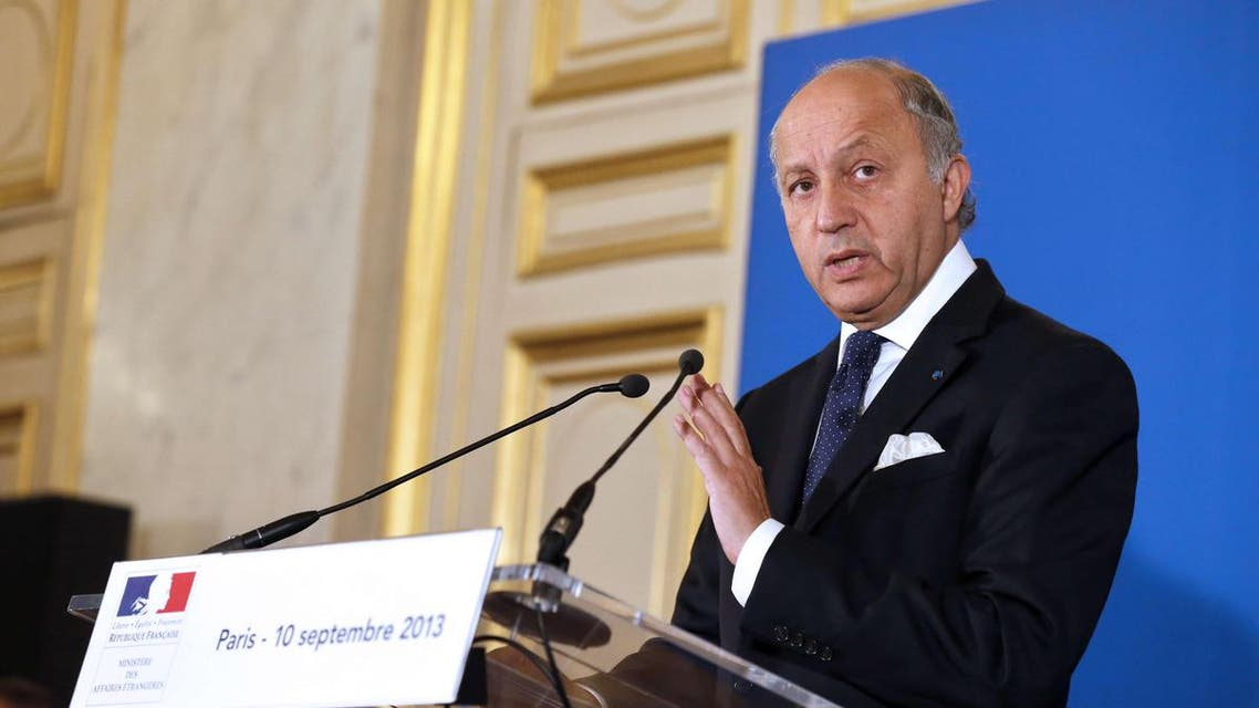 French Foreign Affairs minister Laurent Fabius gives a press conference on the situation in Syria, on September 10, 2013 at the ministry in Paris. afp