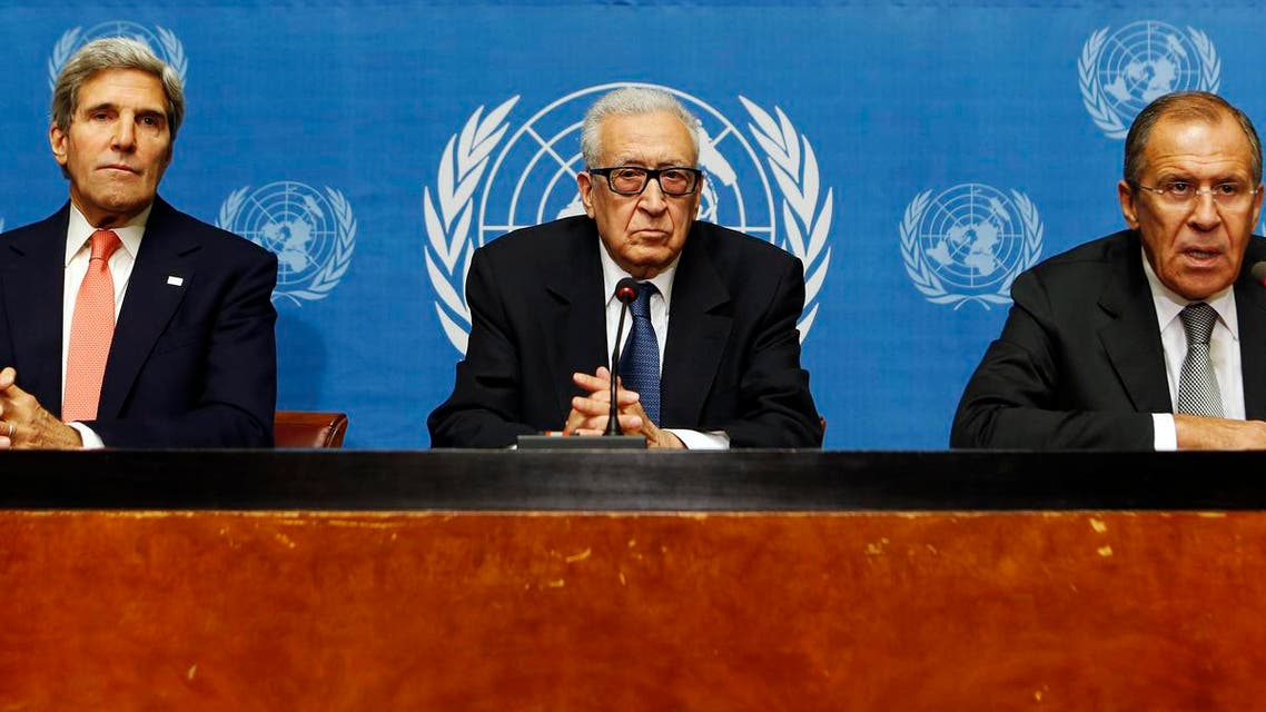 U.S. Secretary of State John Kerry (L) sits with U.N. Special Representative Lakhdar Brahimi (C) and Russian Foreign Minister Sergei Lavrov as they each make a statement to the press after a meeting discussing the ongoing problems in Syria. (Reuters)
