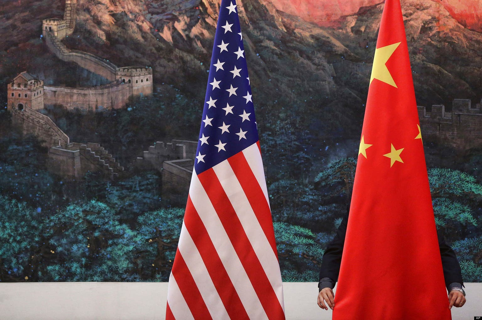 China and US flags. (Reuters)