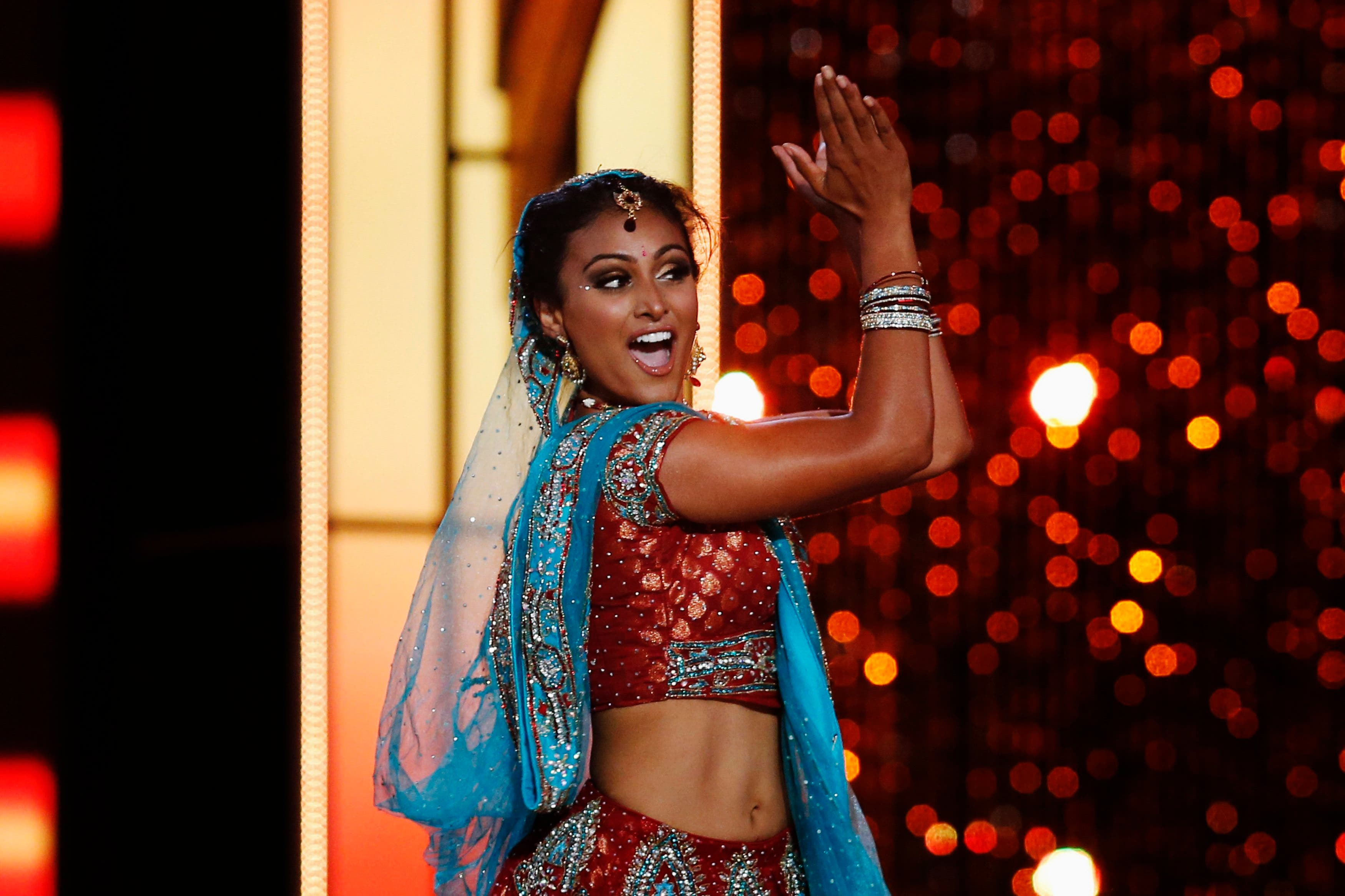 Miss America contestant, Miss New York Nina Davuluri performs a traditional Indian dance during the 2014 Miss America Pageant in Atlantic City, New Jersey, Sept. 15, 2013.  (Reuters)