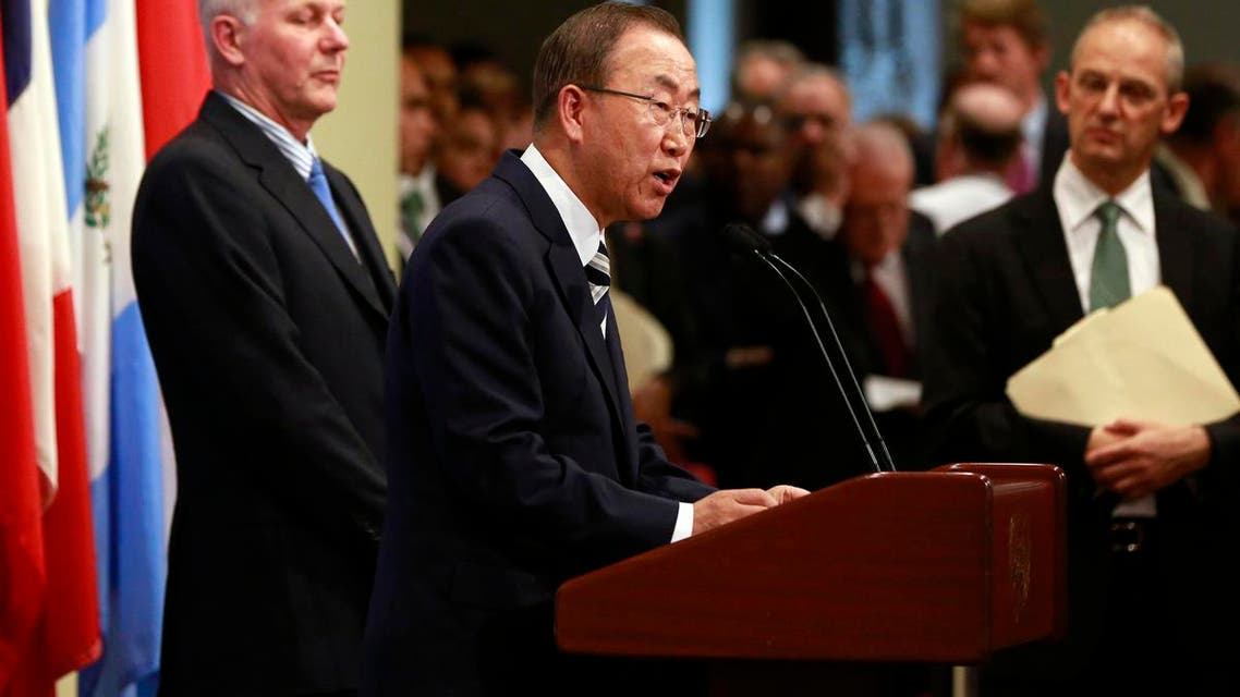 U.N. Secretary-General Ban Ki-moon speaks to the media after briefing the Security Council on the U.N. chemical weapons use in Syria. (Reuters)