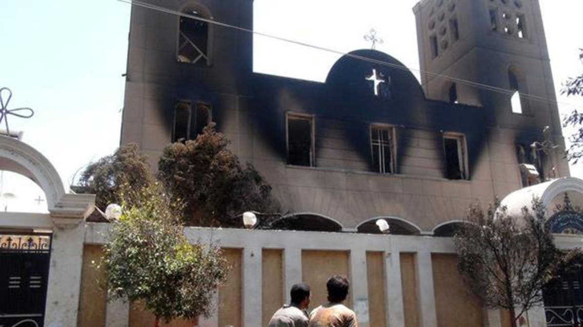 The Prince Tadros Coptic church in the Egyptian city of Minya was torched by unknown assailants. (File photo: AFP)