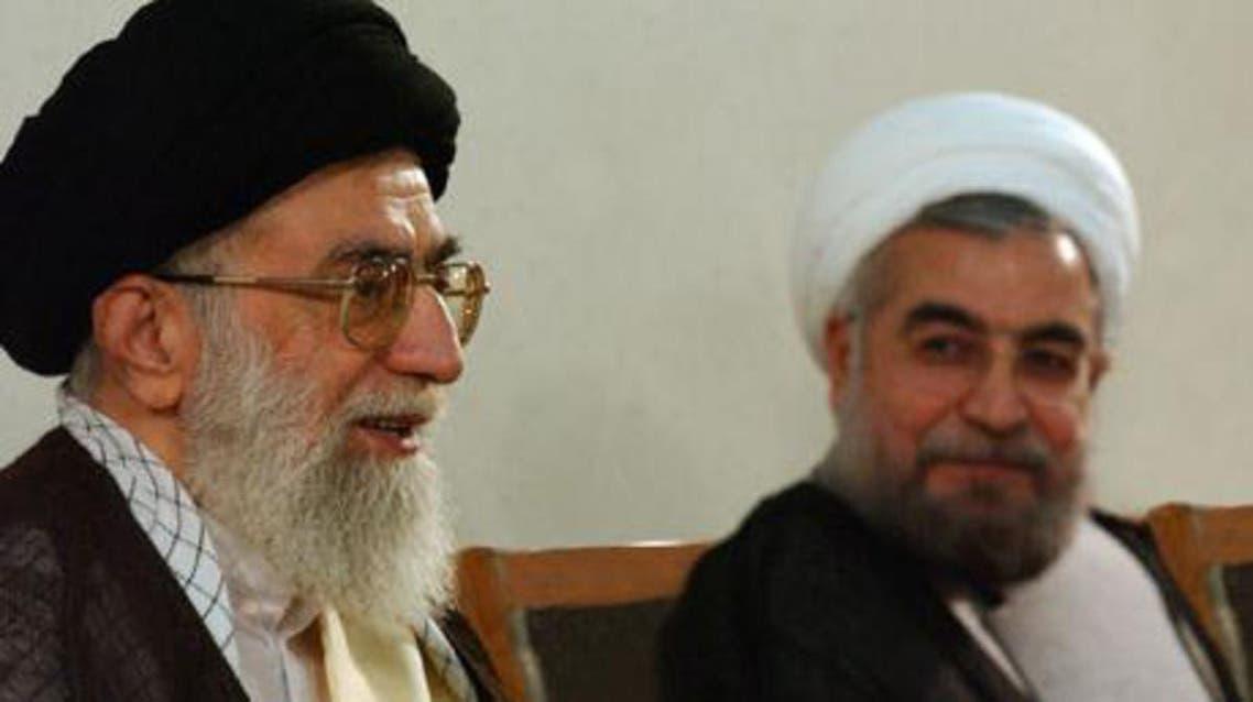 Rouhani with Iran's supreme leader, Ayatollah Ali Khamenei. Photograph. (AFP