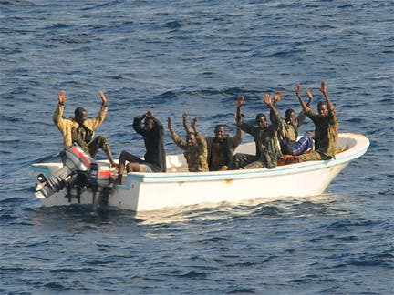 Suspected pirates arrested by the US navy in the Gulf of Aden