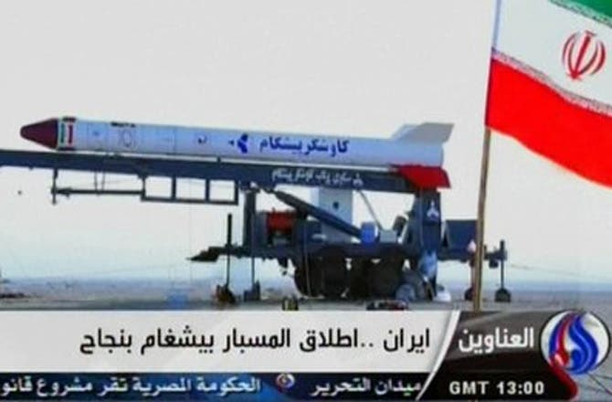 Screenshot form Iran state TV of the Kavoshgar rocket that apparently launched a monkey AFP