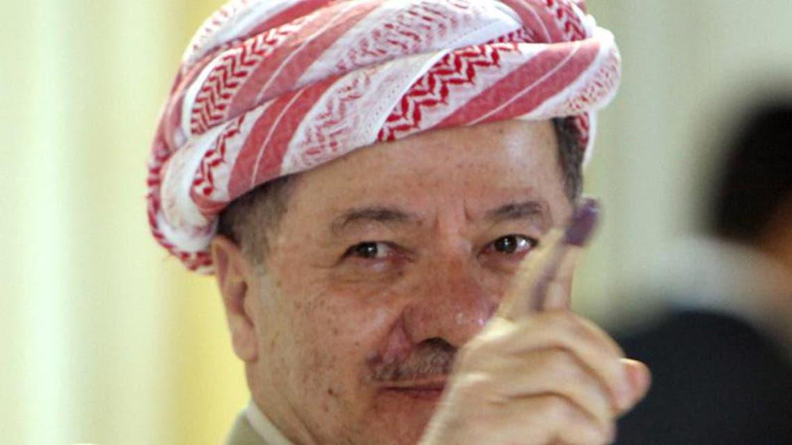 مسعود برزاني بعد التصويت في الانتخابات البرلمانية في كردستان العراق