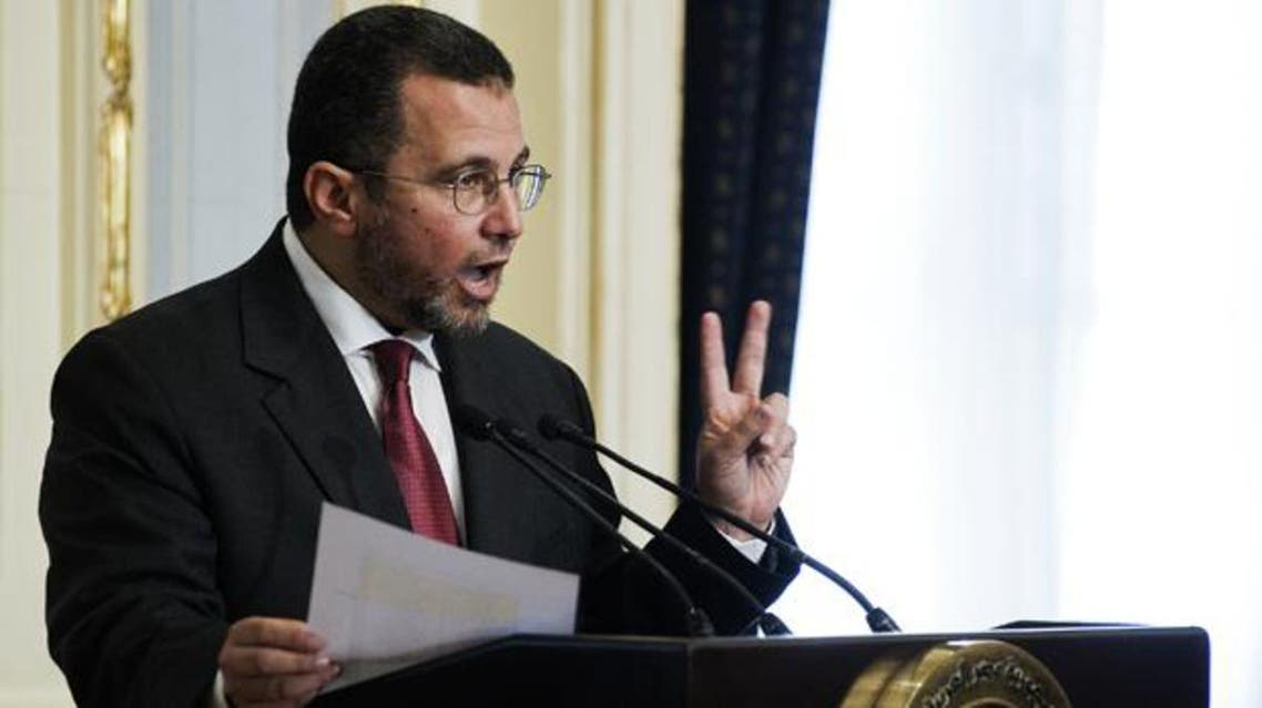A file photo shows former Egyptian Prime Minister Hisham Qandil gestures during a press conference in Cairo, Egypt. (AFP)