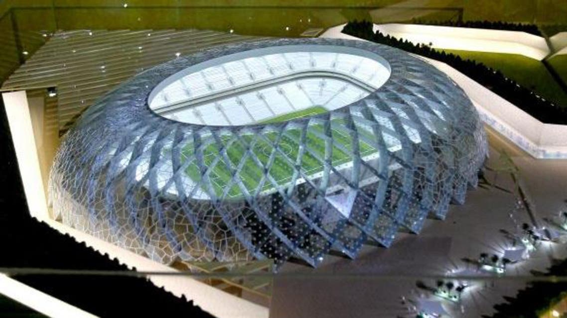 A model of the al-Wakra football stadium displayed during a tour by FIFA officials who were inspecting Qatar's 2022 World Cup hosting bid in Doha. (File Photo: AFP)