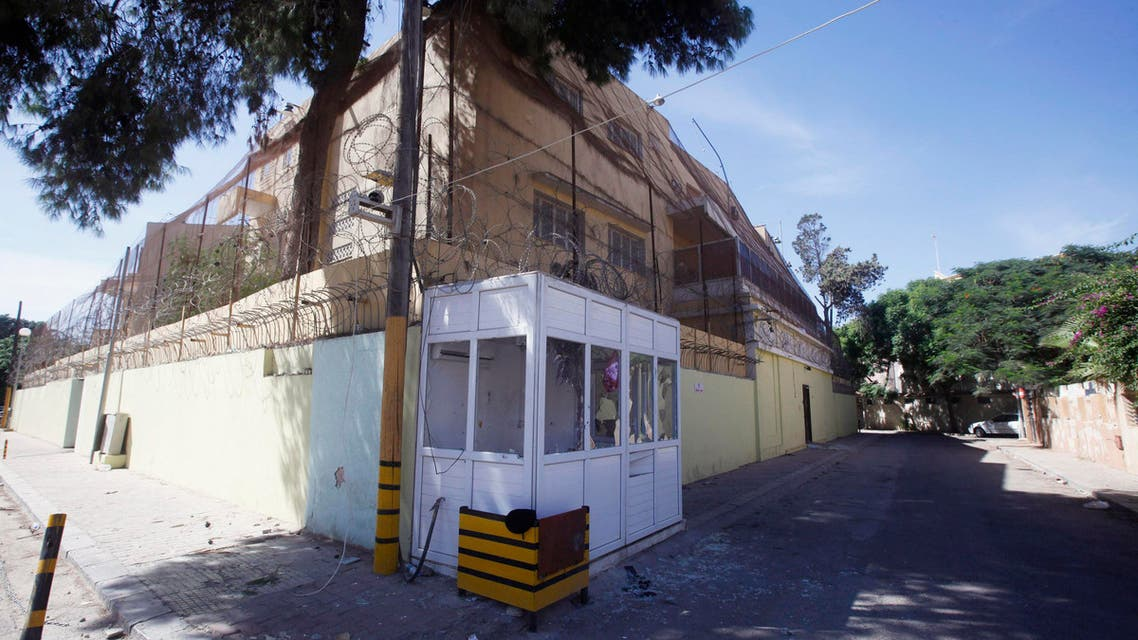 A view of the Russian embassy, a day after an attack, in Tripoli October 3, 2013. (Reuters)