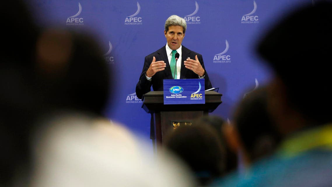 U.S. Secretary of State John Kerry gestures during a news conference at the Asia Pacific Economic Cooperation (APEC) ministerial meeting in Nusa Dua, Bali island October 5, 2013. reu