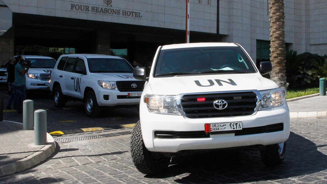 U.N. vehicles transport a team of United Nations chemical weapons experts in Damascus, September 30, 2013. (Reuters)