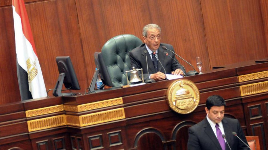 Former presidential candidate Amr Moussa addresses the 50-member panel that has been tasked with drawing up a new constitution during their first meeting in Cairo on September 8, 2013.