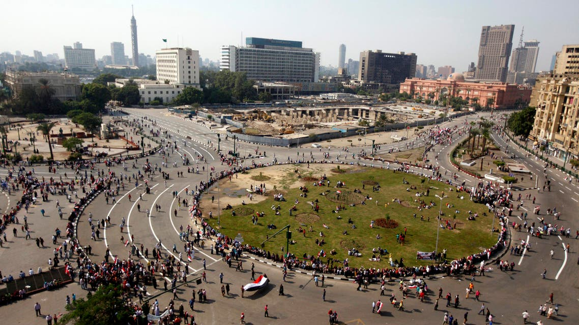 People gather in Tahrir square to celebrate the anniversary of an attack on Israeli forces during the 1973 war, in Cairo Oct. 6, 2013. (Reuters)