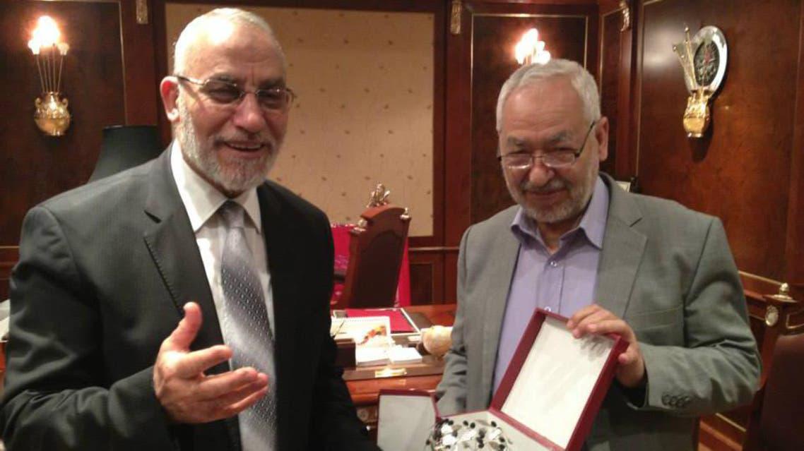 راشد الغنوشي مع مهدي عاكف
