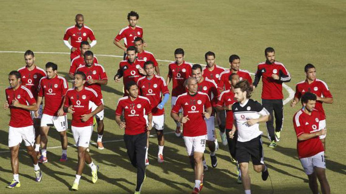 Egypt's players take part in a training session at the Air Defence stadium in Cairo October 9, 2013. (Reuters)