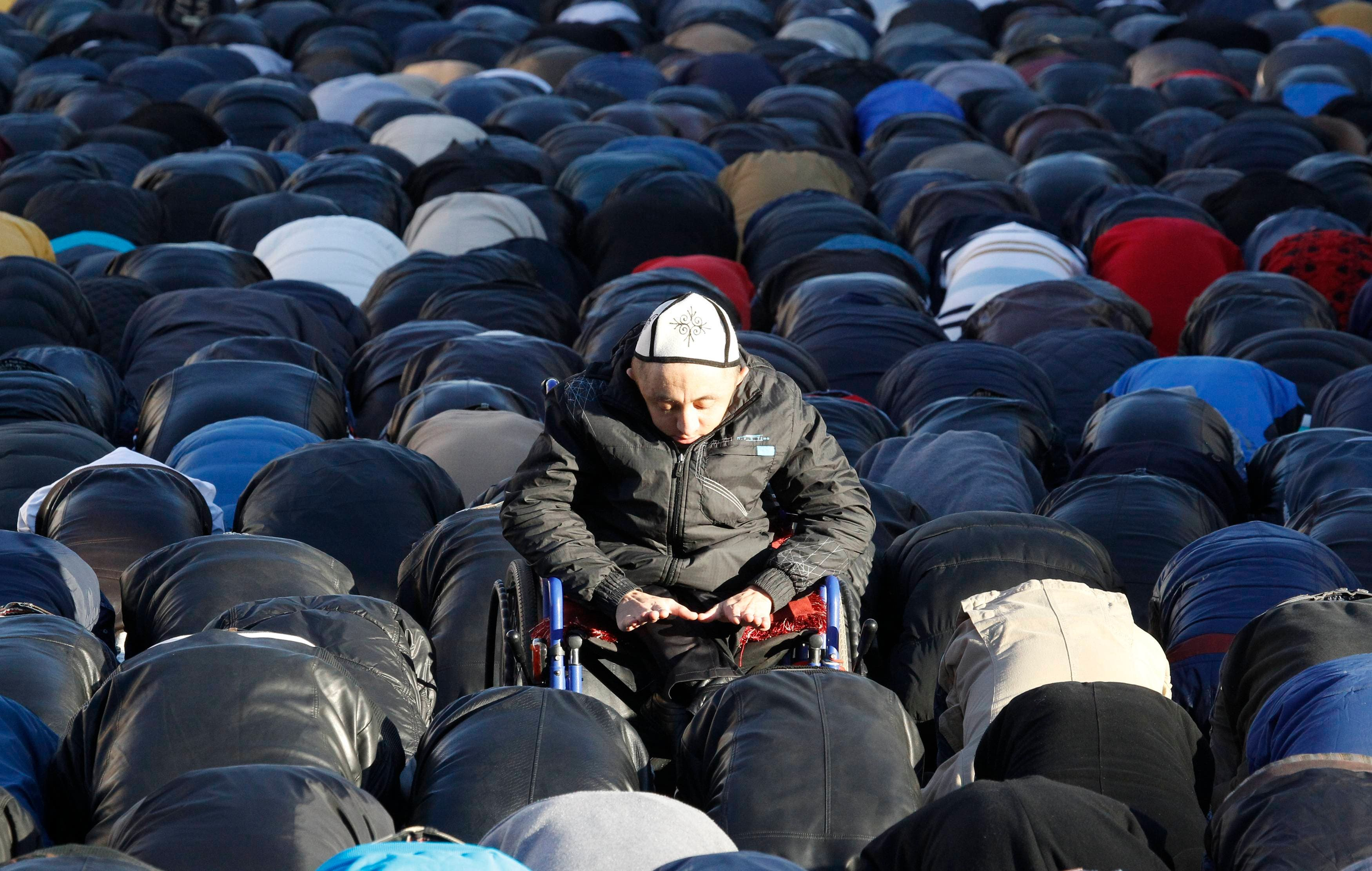 RUSSIA: Muslims attend an Eid al-Adha mass prayer in Moscow, October 15, 2013. (Reuters)