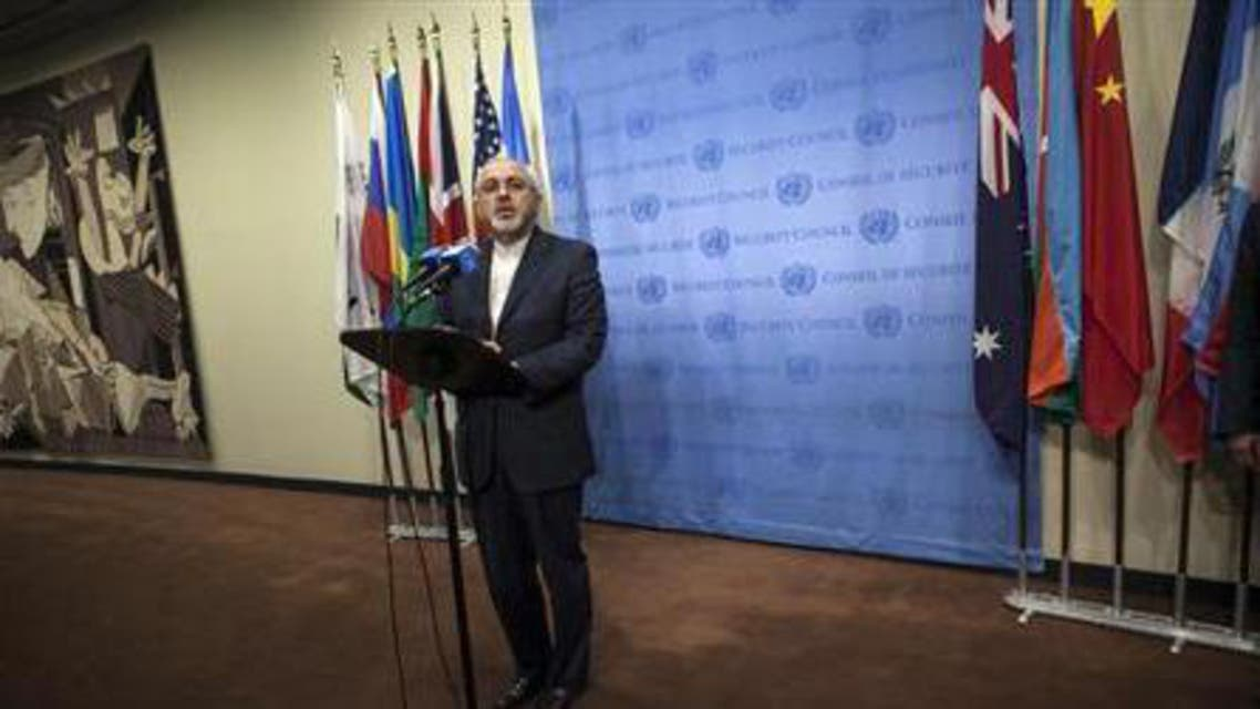 Iran's Foreign Minister Mohammad Javad Zarif speaks to the media after a meeting of the foreign ministers representing the permanent five member countries of the United Nations Security Council, including Germany, at the U.N. Headquarters in New York September 26, 2013.  iran