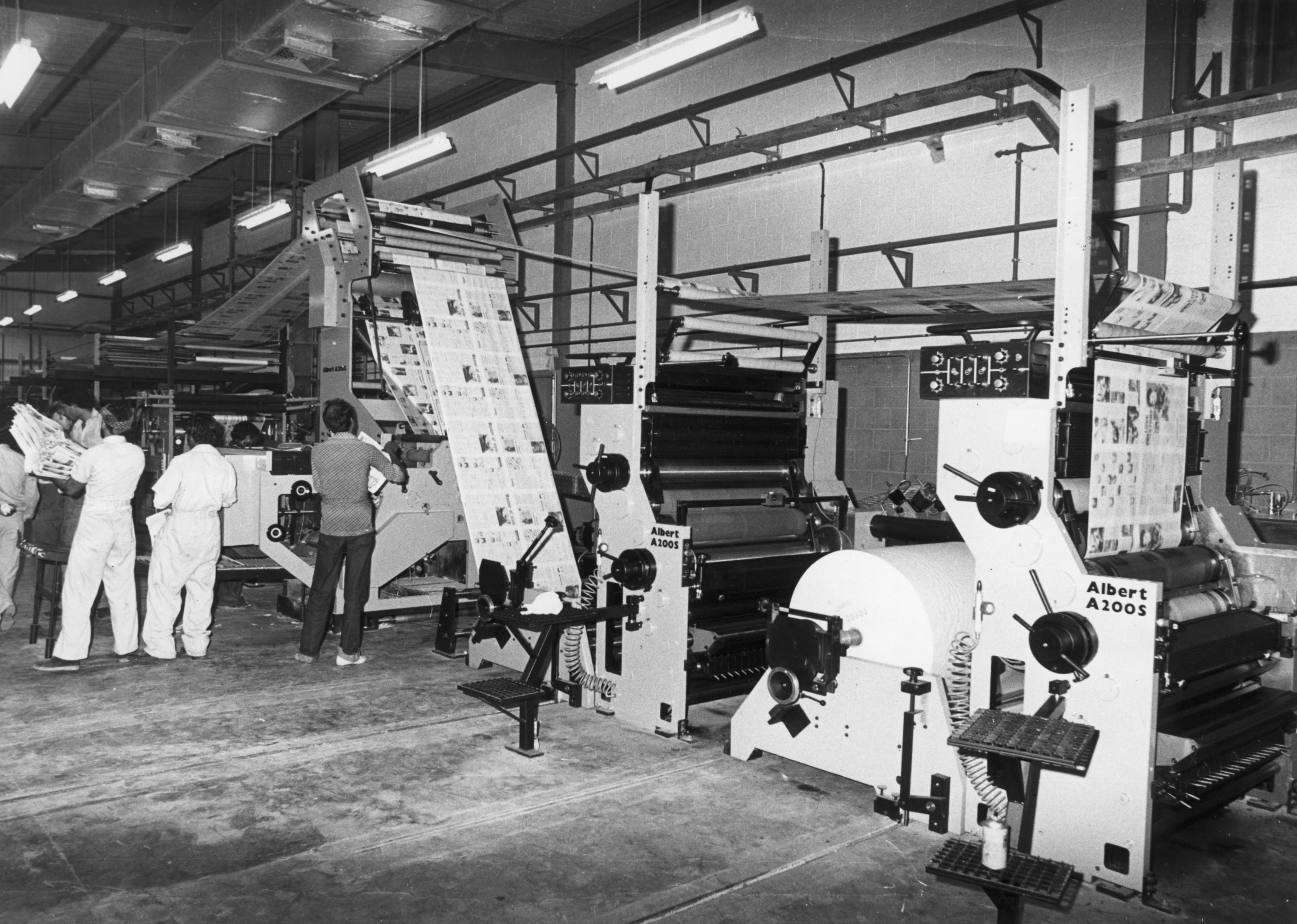 The newspaper was saved in 1984 when it was bought by three Dubai businessmen. Its second press, a Albert Frankenthal, was installed two years later. (Photo courtesy: Gulf News)