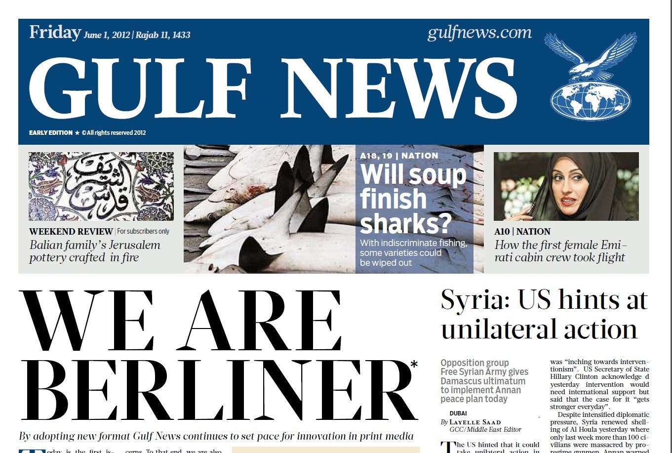 Gulf News adopted the 'Berliner' format in June 2012. (Photo courtesy: Gulf News)
